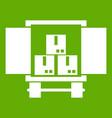 cargo truck with load icon green vector image