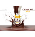 chocolate milk bottle package mock up vector image