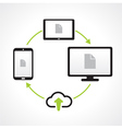 cloud upload connect media transfer icons vector image