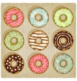 donuts retro striped background vector image