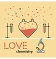 flat love love chemistry flat line heart love vector image