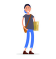 student in cap with bag over shoulder vector image
