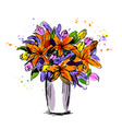 colored hand sketch flower bouquet vector image