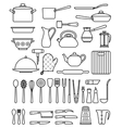 Set of silhouette kitchen utensils and collection vector image