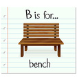 Flashcard letter B is for bench vector image