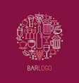 bar logo in linear style vector image