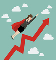Business woman super hero with growing graph vector image