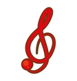 cartoon treble clef musical paper icon vector image