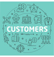 green line flat circle customers vector image
