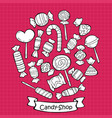 hand drawn sweet products set vector image