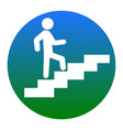 man on stairs going up white icon in vector image