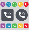 Phone icon sign A set of 12 colored buttons Flat vector image