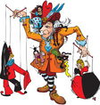 Puppeteer and marionettes vector image
