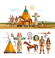 set of American indian tribal objects vector image