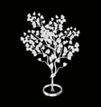 Silver bodhi tree isolated on black background vector image