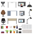 Workplace Interior Elements Set vector image
