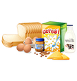 Foods ideal for breakfast vector image vector image