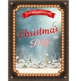Christmas frame with winter village vector image