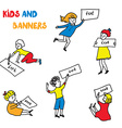 Kids and banners sketches set vector image vector image
