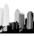 Black and white panorama of skyscrapers vector image