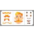 Set of ginger mustache vector image