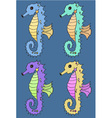 Seahorse cartoon set vector image