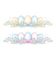 Set of easter borders with eggs and ribbon vector image