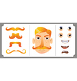 Set of ginger mustache vector image