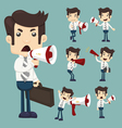 Set of businessman announcing through megaphone vector image vector image