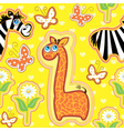 Seamless pattern with animals - giraffe and zebra vector image vector image