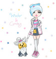 fashion girl with dog vector image