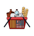 shopping basket with foods sausage bread and vector image