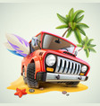 summer jeep car on beach with palm vector image