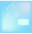 Blue background with unicorn vector image vector image