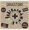 Vintage sign for the drugstores vector image vector image