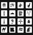 egypt travel items icons set squares vector image