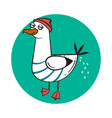 funny cartoon seagull craping vector image