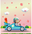 A female racer surrounded with candy balls vector image vector image
