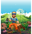 A lumberjack cutting the trees near the mountain vector image vector image