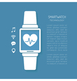 Wearable technology symbol with heartbeat tracker vector image vector image