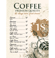 coffee list vector image