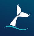 White Whale tail logo sign emlem on dark vector image