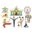 Circus Decorative Flat Icons Set vector image
