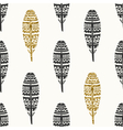 Black Gold Feathers Seamless Pattern vector image vector image