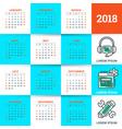 calendar for 2018 year design template week vector image