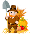 Cute pilgrim with spade vector image
