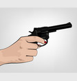 hand holding revolver vector image