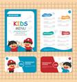 Kids Menu templates Blue theme vector image