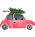 small red vintage car and christmas tree vector image