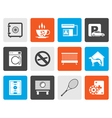 Flat hotel and motel amenity icons vector image